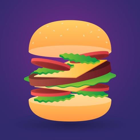 Burger con galleggiante illustrazione ingrediente vettore