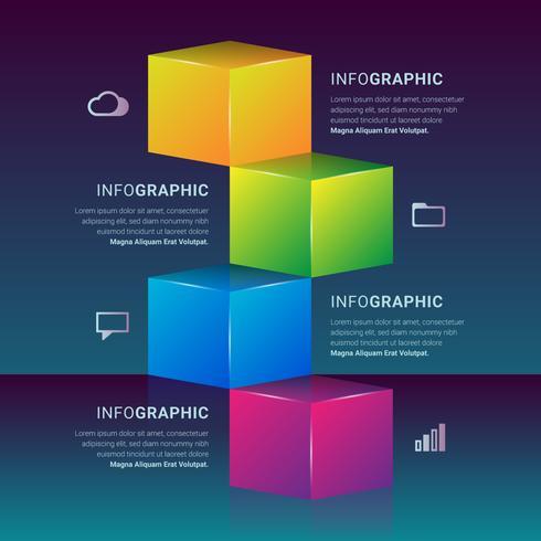 Elemento di passaggi grafico 3D casella infografica
