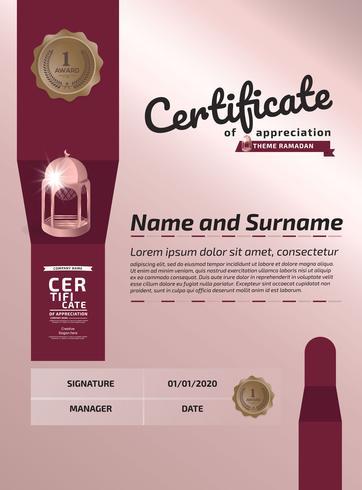 Certificado De Agradecimento Prêmio Template. Certificado de ilustração em padrão de tamanho A4