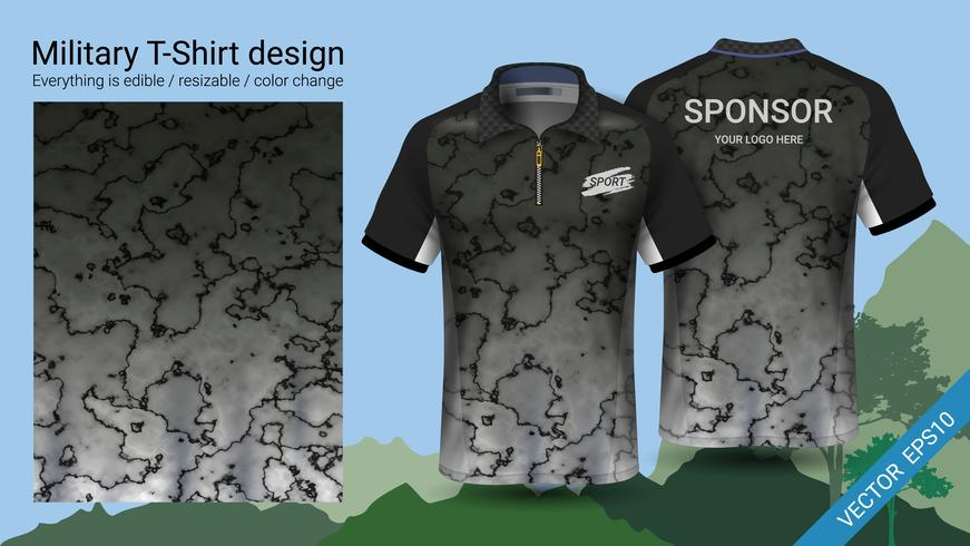 Military polo t-shirt design, with camouflage print clothes. vector