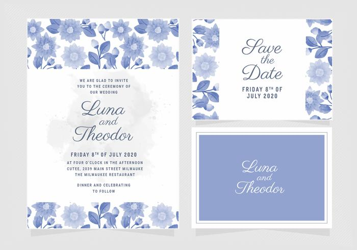Invito a nozze floreale blu di vettore