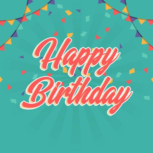 Flat Happy Birthday Greetings Lettering Typography Vector Illustration