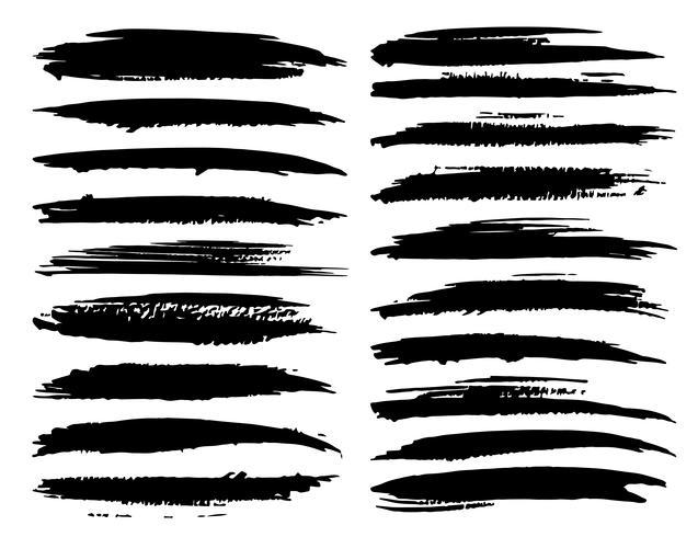 Conjunto de trazos de pincel, pinceladas grunge tinta negra. Ilustracion vectorial vector