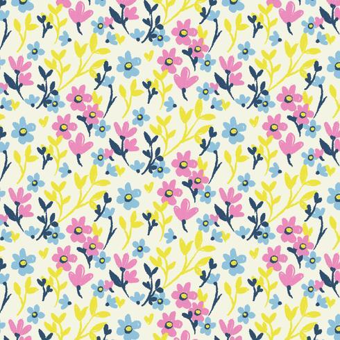 Vector mano dibujada floral de patrones sin fisuras