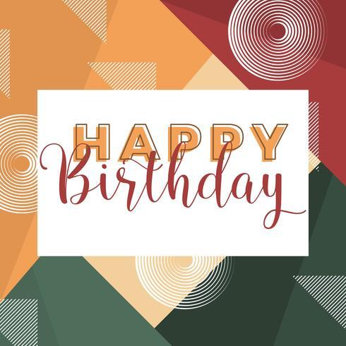 Flat Modern Geometric Happy Birthday Typography Vector Illustration