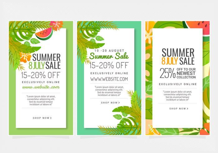 vector banner di vendita estivi