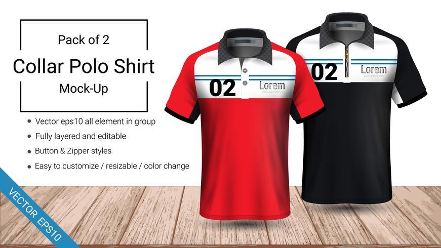 Polo collar t-shirt template.
