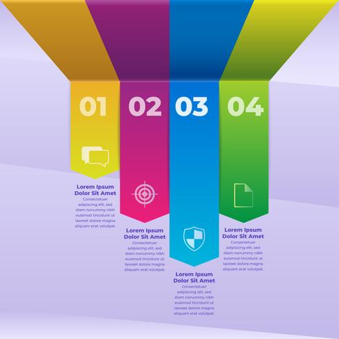 3d Infographic Colored Paper Strips Mall