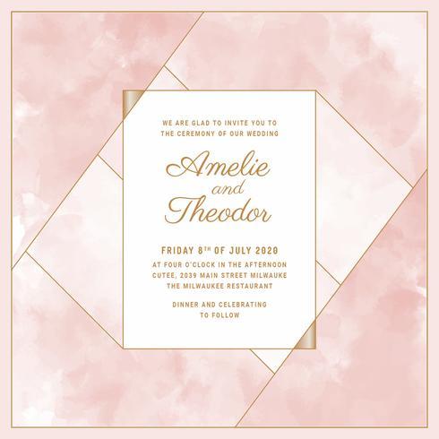 Vector Blush Watercolor Wedding Invitation Template