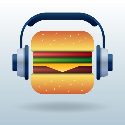 Zomer Eten Muziek Liefde Concept Illustratie vector