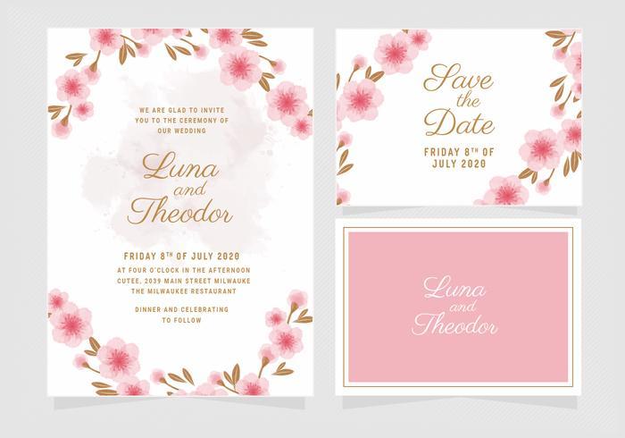 Vector floral plantilla de invitación de boda