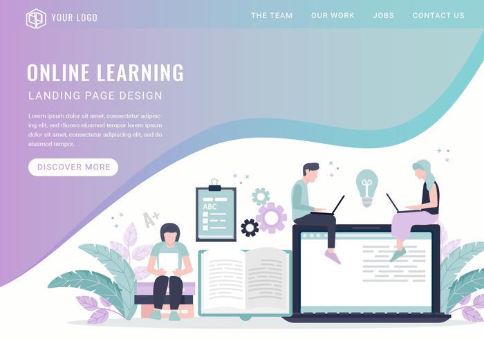 Vector de página de inicio de aprendizaje en línea