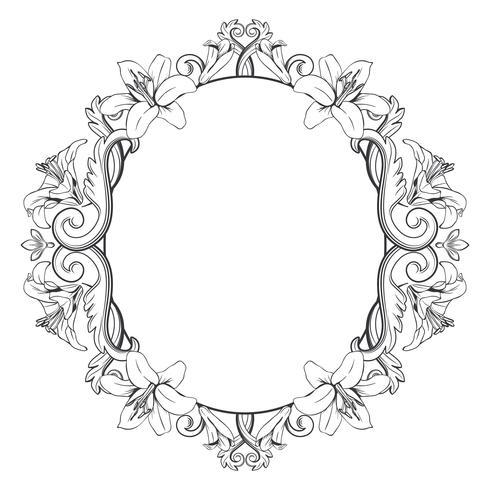 Sier vintage frame met lelies. Vectorillustratie in zwart-witte kleuren vector