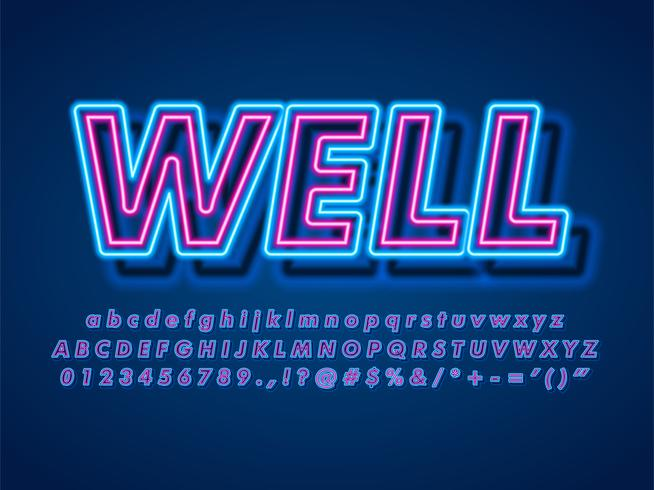 3d Pop Neon Text Effect vector