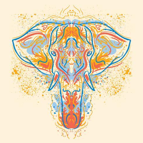 Ilustração de elefante pintado