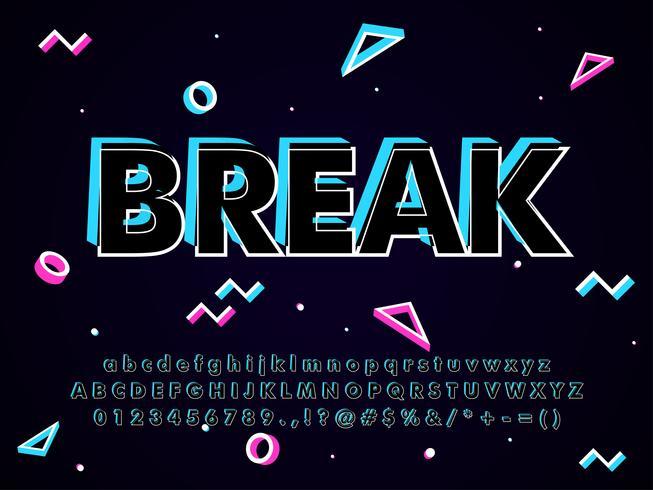futuristic Music Font Effect with memphis design vector