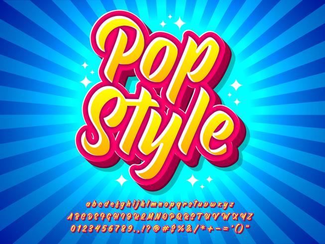 Effetto di testo colorato pop art con stile comico