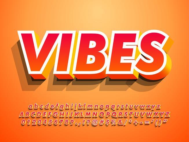 3d alfabeto moderno con vibraciones cálidas