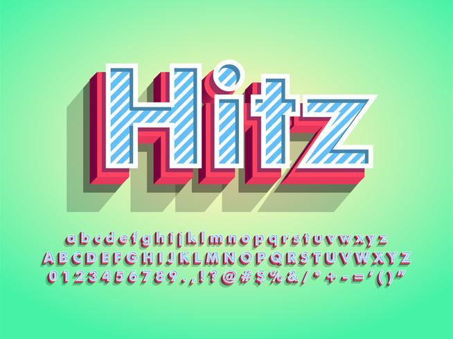 3d moderna fonte de Hitz com padrão de listras