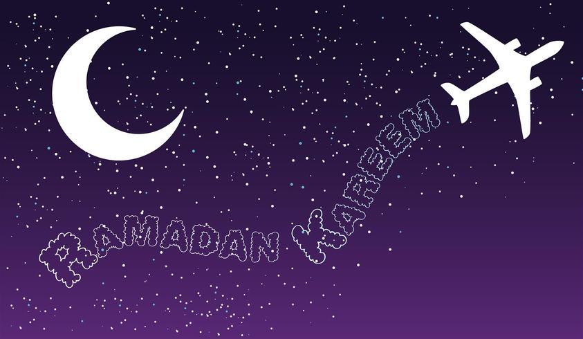as viagens aéreas da noite do céu nublam-se o projeto islâmico do cumprimento do kareem de ramadan.