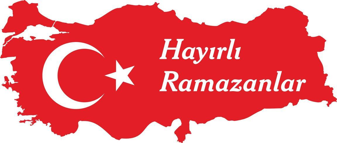Feliz ramadan Turco Falar: Hayirli ramazanlar. Ilustração do vetor do mapa de Turquia.