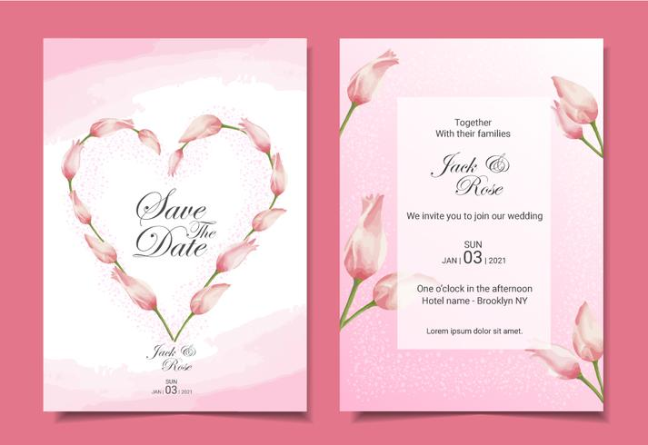 Modern tulips wedding invitation cards template design. Pink color theme with beautiful hand-drawn watercolor flowers