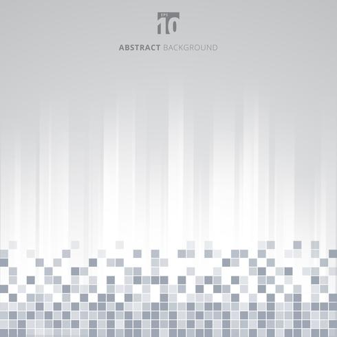 Abstract technology data pixel squares pattern on white striped straight background.
