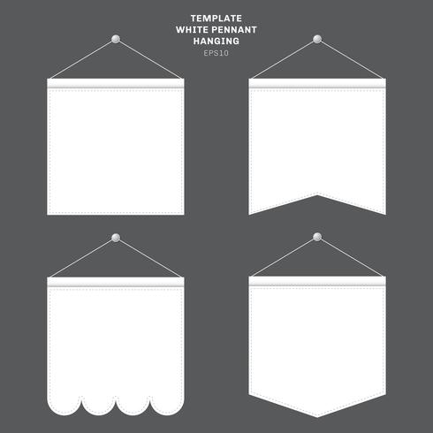 Set of template White pennant hanging on a wall. Advertising canvas outdoor banners mock up.