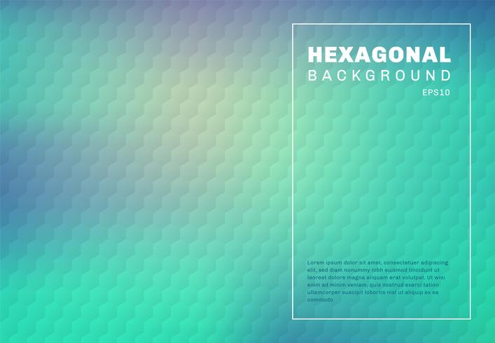 Abstract green mint and blue turquoise gradient blurred background with hexagon embossed pattern texture. vector