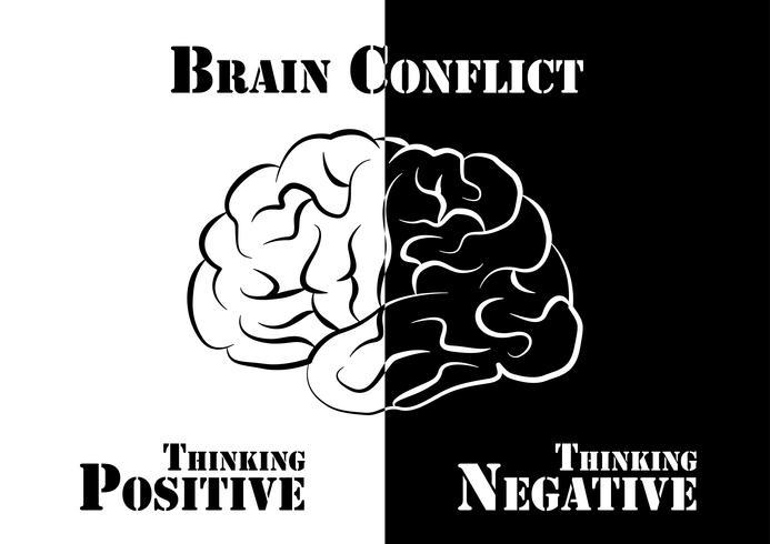 Hersenenconflict. De mens heeft zowel positief als negatief denken. vector