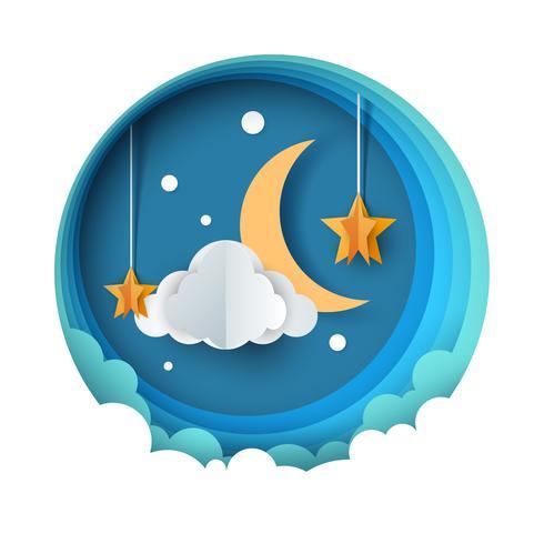 Cartoon papier nacht landschap. Maan, ster, wolk, bloem.