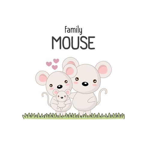Mouse Family Father Mother e Newborn Baby. vettore