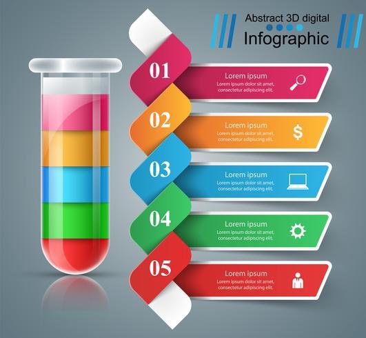 Reageerbuis. Experimenten. Zakelijke infographics. vector