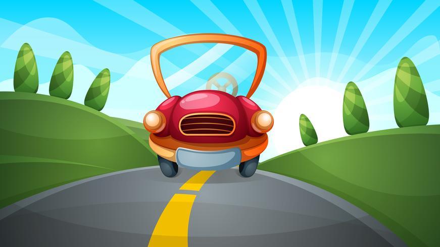 Travel illustration. Cartoon road landscape.