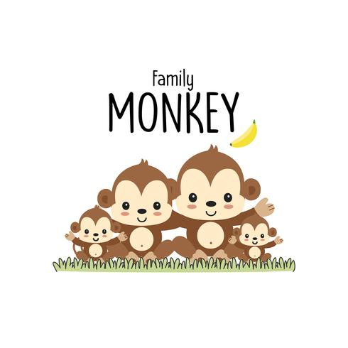 Monkey Family Father Mother and baby.  vector