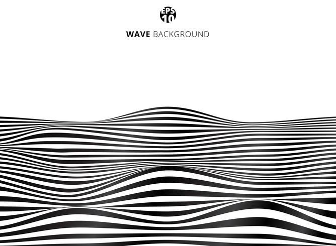 Abstrakte schwarze Linien Welle, gewelltes Streifenmuster, raue Oberfläche
