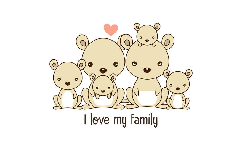 Känguru-Familien-Vater-Mutter und neugeborenes Baby.