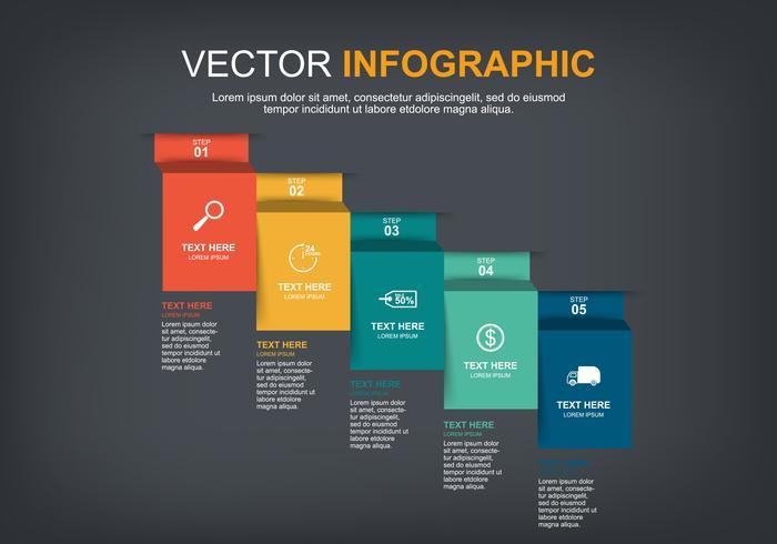 progettazione di elementi infographic con 5 opzioni vettore