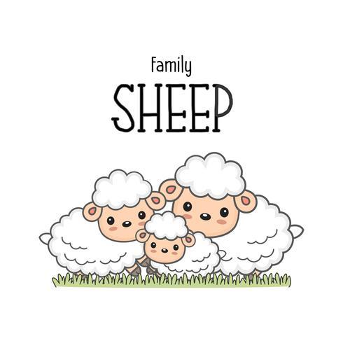 Família de ovelhas felizes. Paizinho da mamã e desenhos animados dos carneiros do bebê na grama. vetor