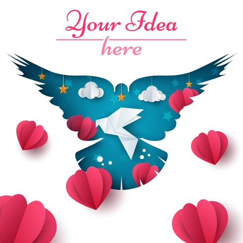 Ilustração de pomba. Paisagem de papel dos desenhos animados. Coração, amor, nuvem, ícone de estrela. vetor