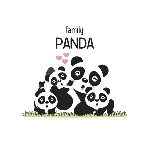 Linda panda familia padre madre y bebé. vector