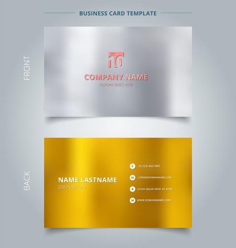 Modello di biglietto da visita e carta di nome creativo, argento e oro colore di sfondo.
