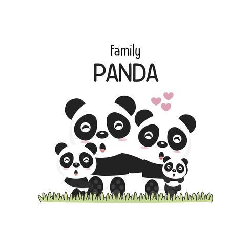 Família de panda bonito Pai mãe e bebê. vetor