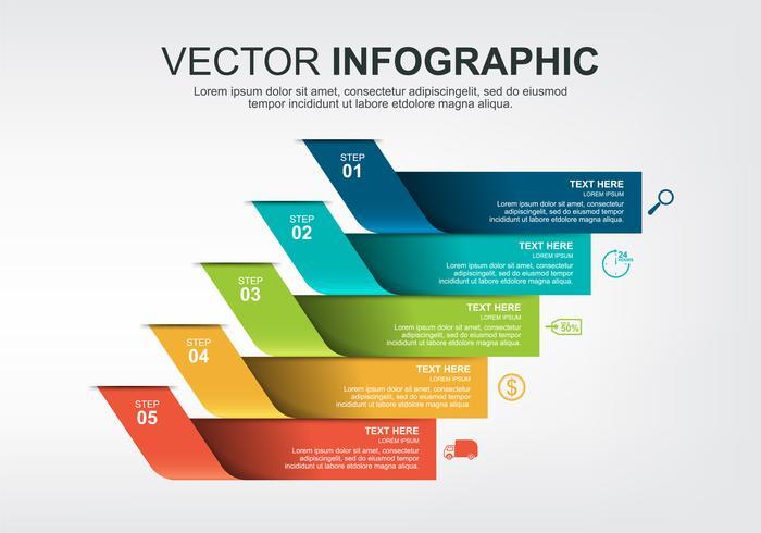 Diseño de elementos infográficos con 5 opciones. vector