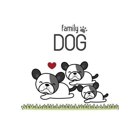 Terrier Hundfamilj Far Mor och Nyfödd Baby. vektor