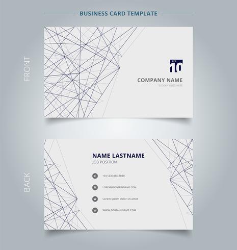 Estrutura de linhas do modelo do negócio do cartão de nome no fundo branco. Conceito abstrato e design comercial. vetor