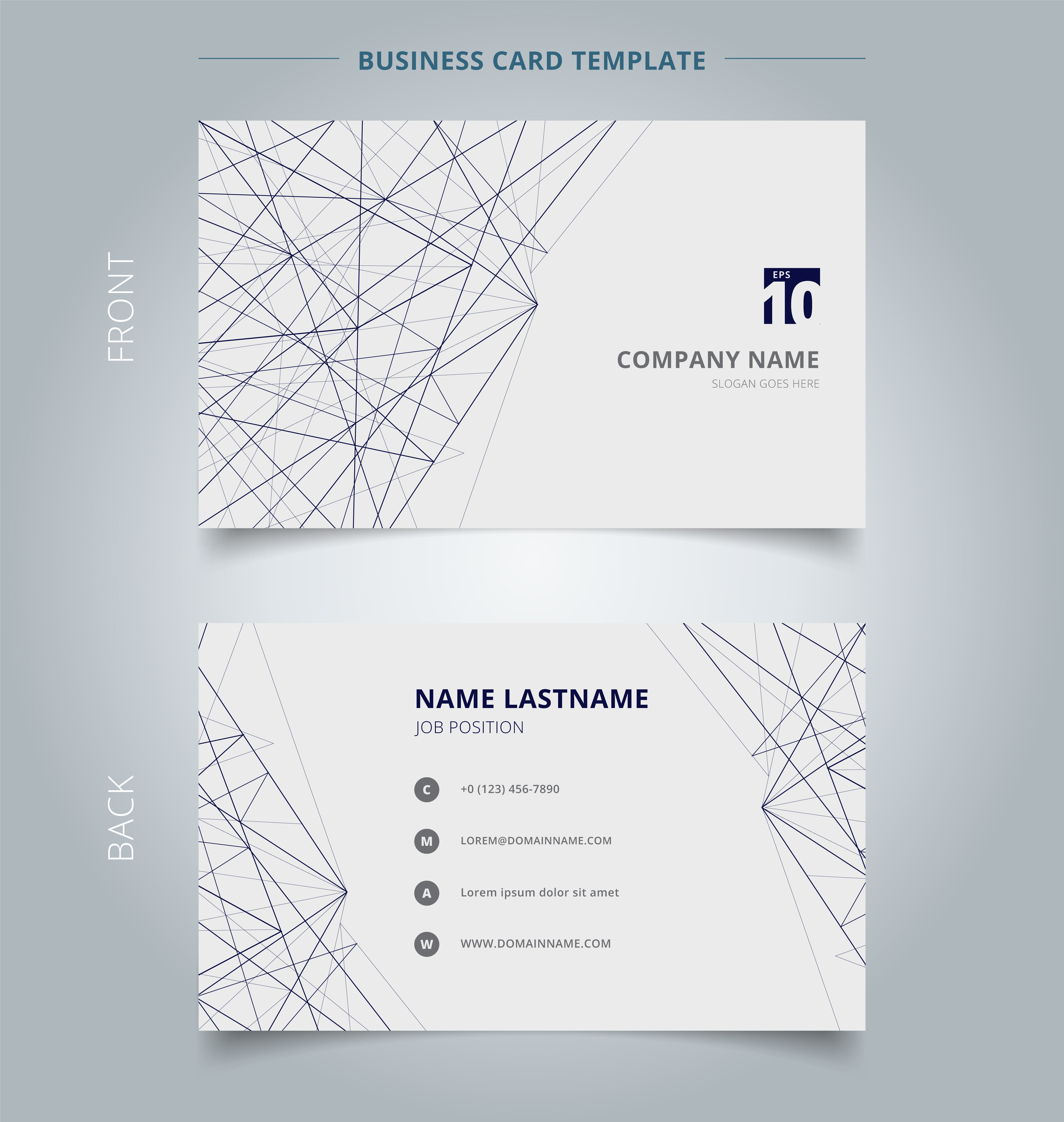 Name Card Business Template Lines Structure On White