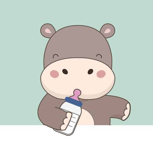 Cute cartoon baby Hippopotamus.
