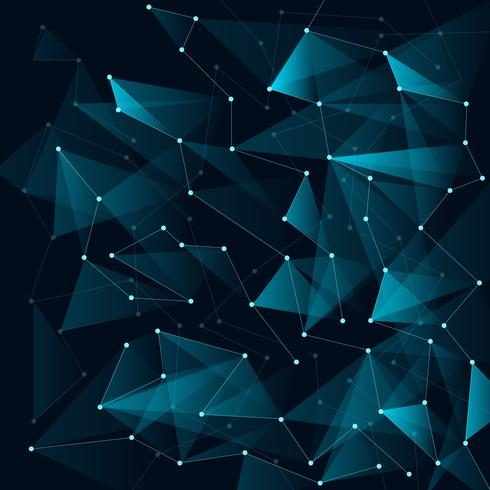 Abstract blue color triangles and low polygon with lines connecting dots structure on dark background.