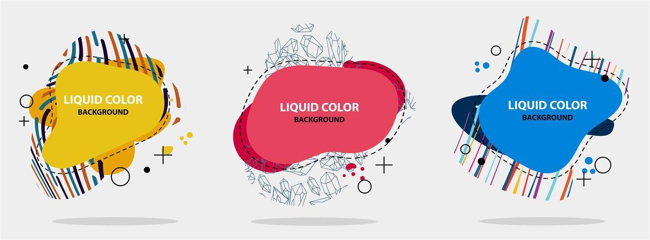 Abstracte vloeibare vorm. Moderne abstracte bannerreeks. Vlakke geometrische vloeibare vorm met verschillende kleuren. Moderne sjabloon voor spandoek. Sjabloon voor het ontwerpen van een logo, flyer van presentatie.